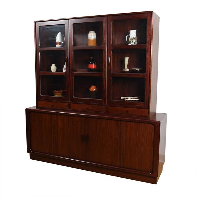 2-Piece Danish Rosewood Display / Tambour Door Storage Cabinet
