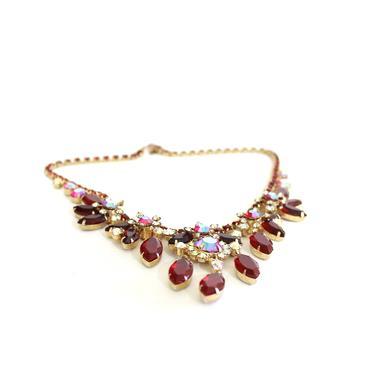 1950s Aurora Borealis Necklace - 1950s Cut Glass Necklace - 1950s Pink Necklace - Vintage Pink Necklace - Vintage Valentine Necklace by VeraciousVintageCo