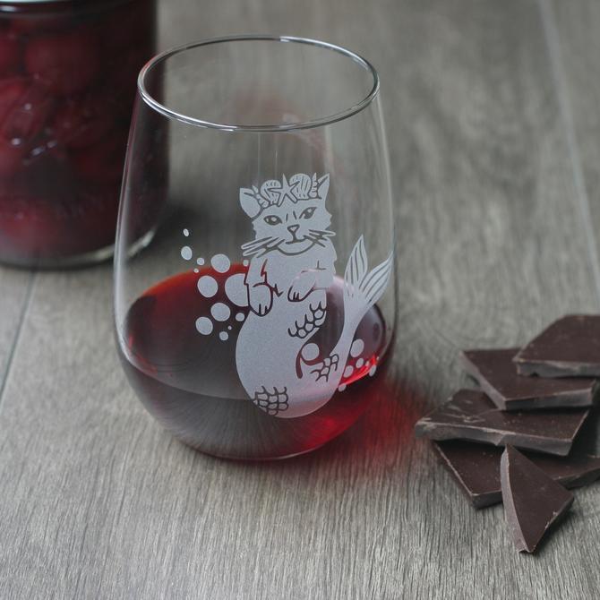 Mermaid Cat Stemless Wine Glass - dishwasher-safe, engraved by BreadandBadger