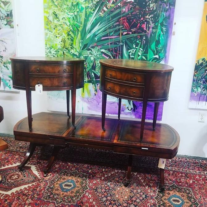 Pair of antique suede tables $300. Antique coffee table with leaf. $275