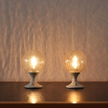 Pair of Amber Crackle Globe Table Lamps with Tulip Base