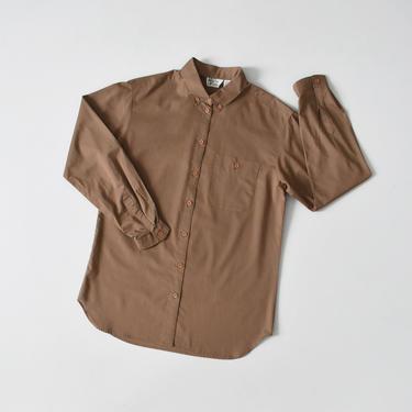 vintage brown button down shirt, 80s cotton blouse, size S / M by ImprovGoods