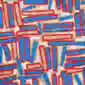 Vintage Modernist Geometric Sticks Print Fabric Remnant 3.4 Yds by MetroRetroVintage