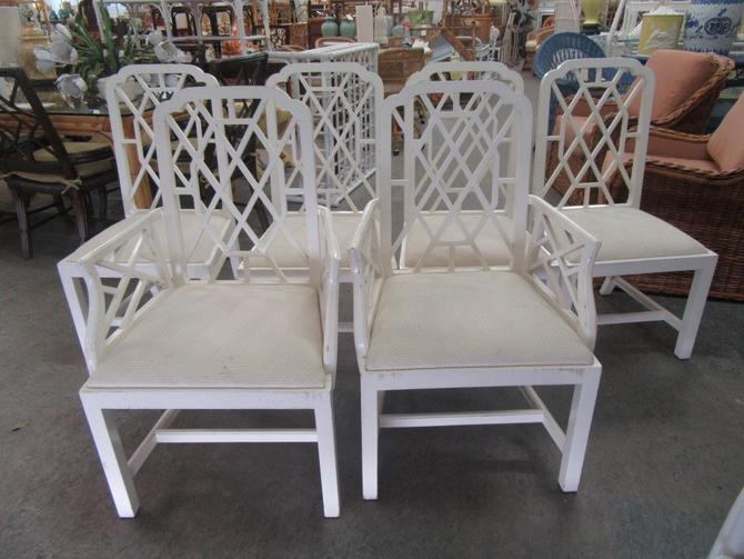 Set of 6 Fretwork Dining Chairs