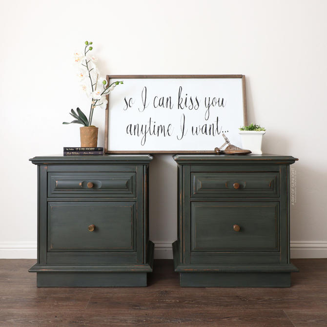 Green Pair of Nightstands - Rustic Nightstands - Farmhouse Decor - Painted Furniture - Vintage Furniture - Refinished Furniture - End Tables by ARayofSunlight