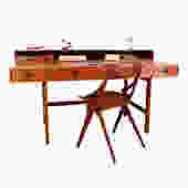 1965 Early Production Lovig Danish Modern 'Flip-Top' Teak Partner's Desk