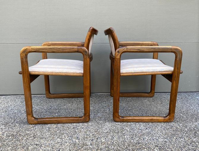 Set of 2 Mid Century Arm Chairs Walnut or Teak by DesertCactusVintage