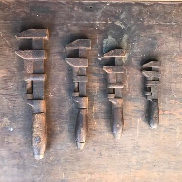 Antique Lot of 4 Wood-Handled Pipe Wrenches Rustic Garage Decor by NorthGroveAntiques
