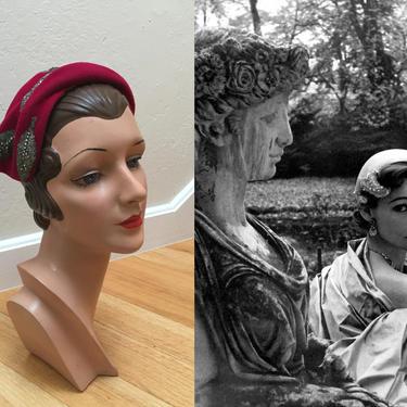 Danae to the Stars - Vintage 1940s 1950s Fuchsia Pink Velour Sculpted Caplet Hat w/Metallic Silver Beading by RoadsLessTravelled2