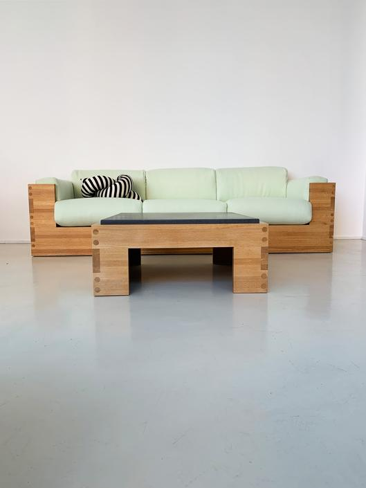 1970s Oak and Soap Stone Boxy Coffee Table
