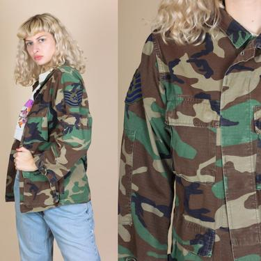 Vintage US Air Force Camo Shirt - Extra Small   80s Button Up Jacket Camouflage by FlyingAppleVintage