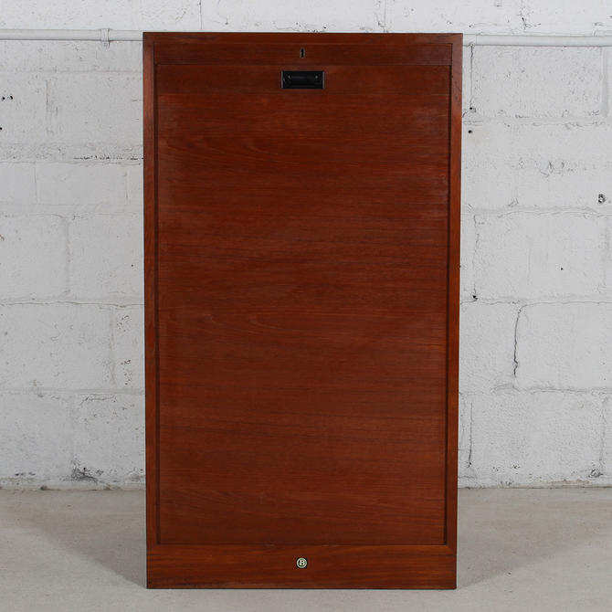 Large Danish Teak Locking Tambour Door Filing Cabinet