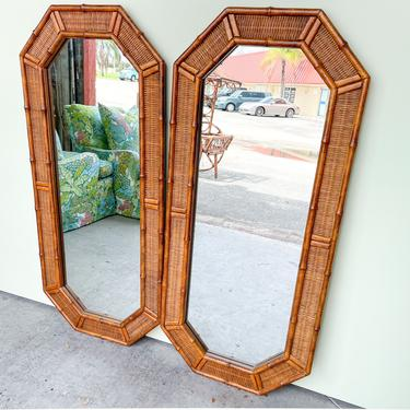 Pair of Faux Bamboo Octagon Mirrors