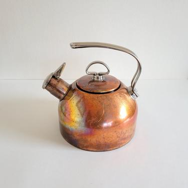 Vintage Chantal Copper Kettle, Stainless Steel Handle and Interior, Harmonica Whistle, Gorgeous Patina by CivilizedCrow