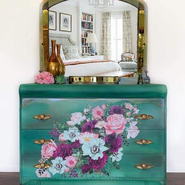 Boho Dresser with Mirror | Green Boho Dresser | Green Painted Dresser | Art Deco | Dresser with Pink and Purple Flowers | Emerald Green by AllThingsNewAgainVA
