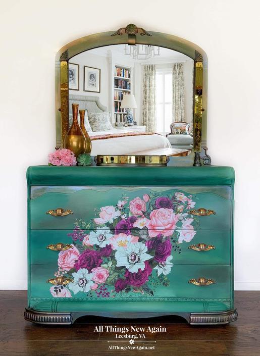 Boho Dresser with Mirror   Green Boho Dresser   Green Painted Dresser   Art Deco   Dresser with Pink and Purple Flowers   Emerald Green by AllThingsNewAgainVA