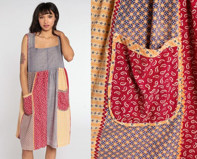 Floral PATCHWORK Dress 70s Boho Dress 80s Babydoll Mini Dress Red Empire Waist Sundress Summer Vintage Sleeveless Bohemian Large L by ShopExile