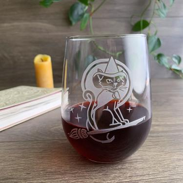 Halloween Witch Cat Stemless Wine Glass - dishwasher-safe, engraved by BreadandBadger