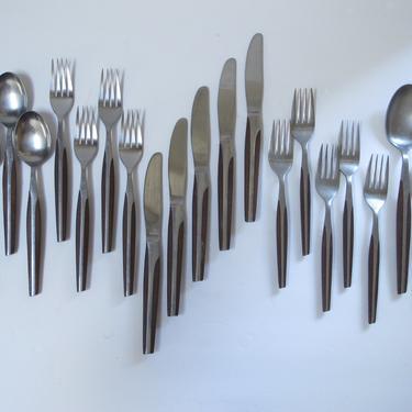 21 pc Mid Century Flatware Cutlery Forks spoons knives Eldan Brown Silver Japan Stainless Silverware Eldan Japan Cutlery Set Atomic Flatware by akaATA