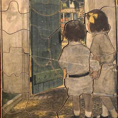 RARE! Gorgeous 1930s Jig - Saw Picture Puzzle - The Green Door - Artist Jessie Wilson Smith -  39 Pieces - PUZZLE LOVERS! | Free Shipping by Bixley
