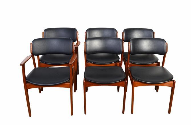 6 Teak Dining Chairs Erik Buch Danish Modern  OD Mobler Model 49 Black Leather by HearthsideHome