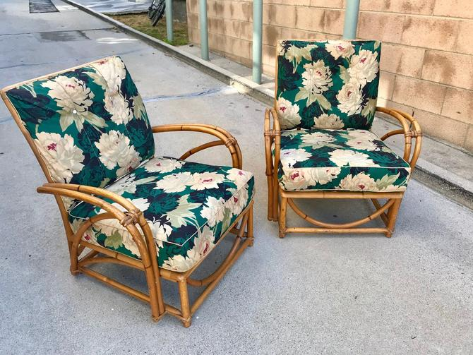 Pair of Vintage Rattan Lounge Chairs (Los Angeles) by HouseCandyLA