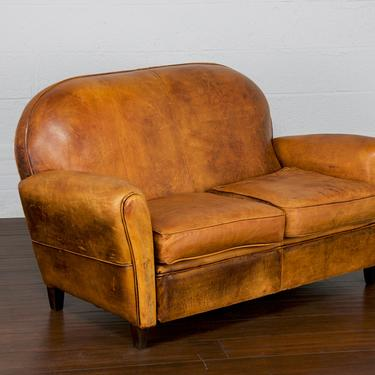 Vintage French Art Deco Club Loveseat W/ Original Leather by StandOutSpaces