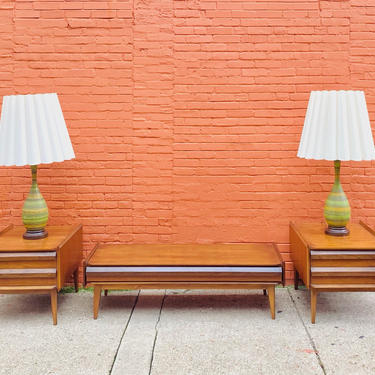 Vintage Mid Century Modern LANE First Edition Walnut & Pecan Coffee Table / End Table Set, In Amazing Condition, Style No. 1062 01 by shopGoodsVintage