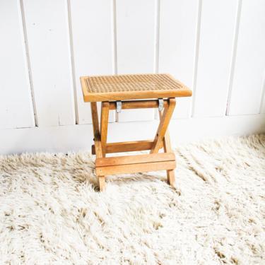 Beautiful Vintage Folding Wood and Cane Stool / Seat by PortlandRevibe