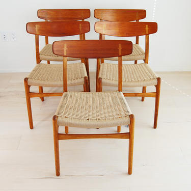Set of 5 Restored Danish Modern Hans Wegner Teak and Oak Dining Chairs CH-23 for Carl Hansen and Son by MidCentury55
