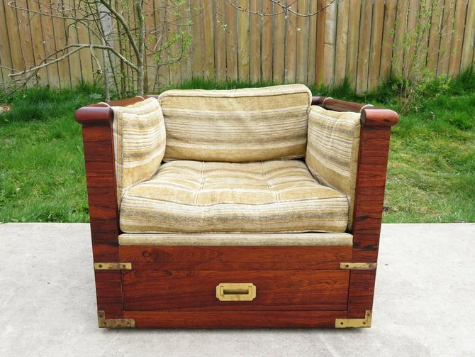 Vtg MARGE CARSON CASED ROSEWOOD CAMPAIGN STYLE LOUNGE or CLUB CHAIR Mid Century