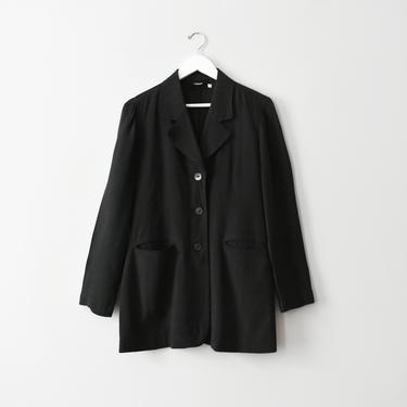 vintage linen jacket, minimal black blazer, size S by ImprovGoods