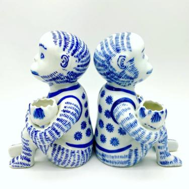 Vintage Blue & White Chinoiserie Monkey Candleholders/ Pair of Two by SeaweedSalvage