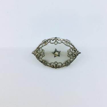 Antique Camphor Glass Diamond Brooch Pin Art Deco Brooch Wedding Bridal Brooch C Clasp by AuntyEntitysVintage
