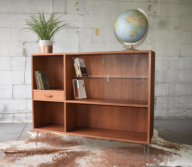 Mid Century Modern Danish Teak Bookcase hairpin legs by CIRCA60