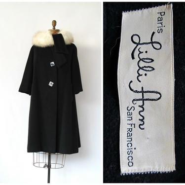 LILLI ANN Vintage 50s Coat | 1950s Black Swing Tent Wool Coat w/ Fox Fur Collar | Designer, Rockabillly, VLV, 60s 1960s | Sz Medium / Large by lovestreetsf