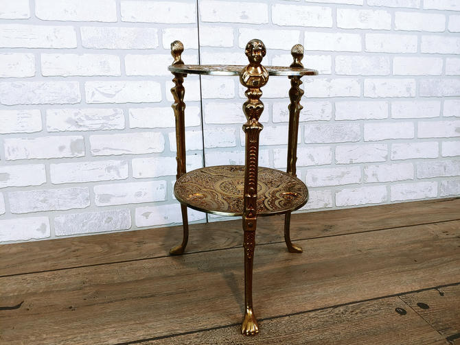 Brass Art Deco 2 Tier Ornate Plant Stand with Cherubs by RedsRustyRelics