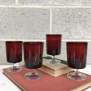 Vintage Wine Glasses Retro 1970s Luminarc Arcoroc France + Translucent + Clear + Ruby Red + Set of 4 + Goblets + Barware + Home Decor by RetrospectVintage215