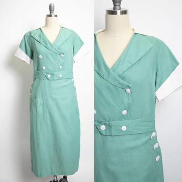 1930s Wrap Dress Mint Cotton Canvas Medium by dejavintageboutique