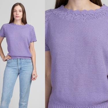 70s Lilac Knit Top - Medium to Large   Vintage Haband Purple Short Sleeve Lightweight Sweater Shirt by FlyingAppleVintage