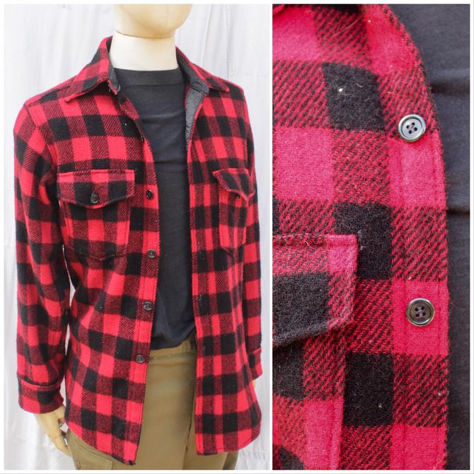 Vtg 80s Woolrich Red And Black Plaid Flannel / Wool Workwear Shirt / Mens M by AmericanDrifter