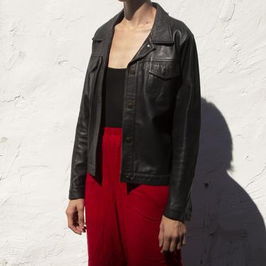 vintage black leather jacket by Unattended
