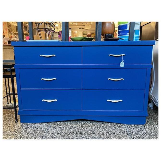 """Six drawers navy blue (low) painted chest. 53"""" long / 19"""" deep / 33.5"""" height"""