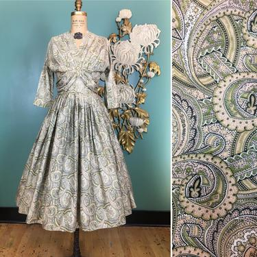 1950s cotton dress, r & k originals, vintage 50s dress, olive green paisley, fit and flare, full skirt, size small, mrs maisel style, dolman by BlackLabelVintageWA