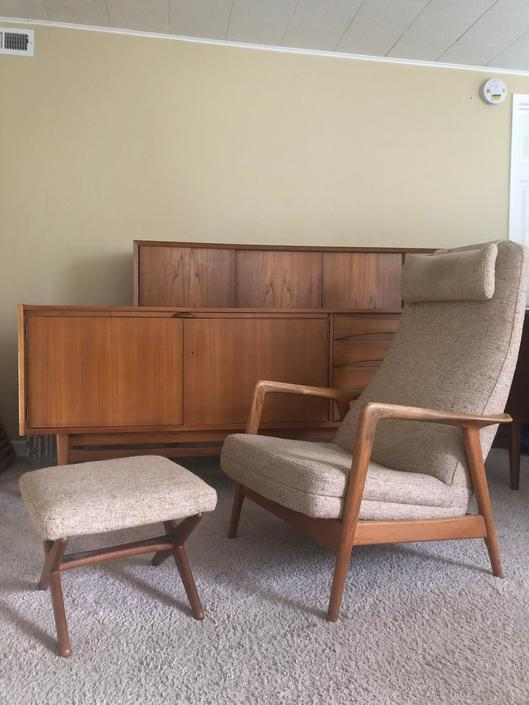 Danish Mid Century Reclining Sofa Chair with Height Adjustable Ottoman by BigWhaleConsignment