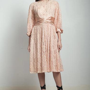 vintage 50s party dress blush pink lace full skirt cummerbund MEDIUM M by shoprabbithole