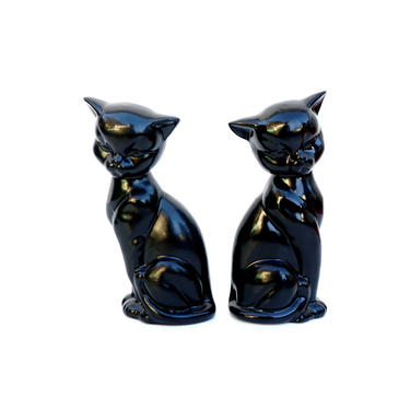 Mid-Century Siamese Cat Figurines || Black Porcelain Mod Pretty Kitty Statues by ELECTRICmarigold