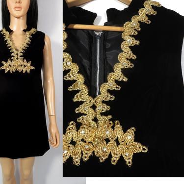 Vintage 60s Black Velvet Party Dress With Gold Embroidered Ribbon Detail Size S by VelvetCastleVintage