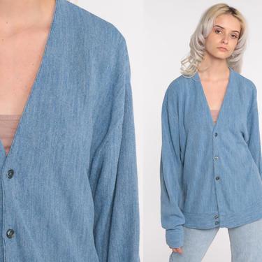 Plain Blue Sweater -- 80s Cardigan Button Up Grunge Grandpa Slouchy Boho Vintage 1980s Retro Nerd Bohemian Plain Men's Large by ShopExile