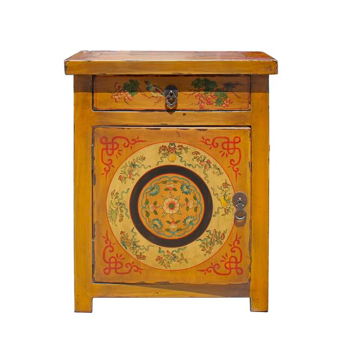 Chinese Oriental Distressed Mustard Yellow Graphic End Table Nightstand cs5767E by GoldenLotusAntiques